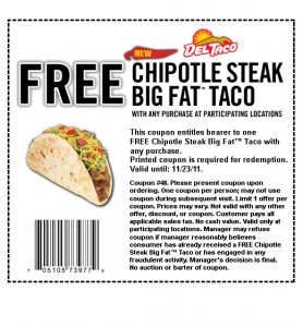 taco 278x300 Free Steak Taco @ Del Taco Unlimited Prints