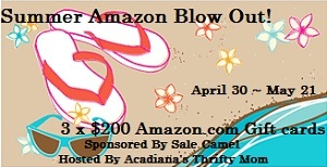 summer blow out button1 $200 Amazon Giveaway ENTER NOW